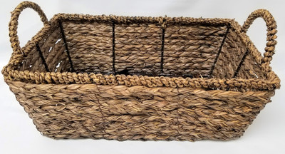 "Smallest in Set of 3 Rectangular Hyacinth & Seagrass baskets S: 12.75""x8.25""x4.5""H"