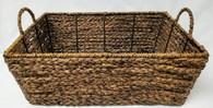 "Largest in Set of 3 Rectangular Hyacinth & Seagrass baskets L: 17.75""x12""x6.25""H"