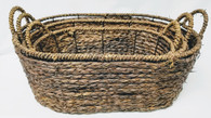 "Largest in Set of 3 Oval Hyacinth & Seagrass baskets  S: 13.75""x8.50""x4.75""H,  M: 15""x10""x5.5""H  L: 17.75""x12.5""x6.25""H"