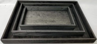 "S/3 Black Rectangular wood trays  S: 12""x6.75""x1.5""H,  M: 15""x10""x1.5""  L: 18.25""x13x1.50""H"