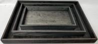 """S/3 Black Rectangular wood trays  S: 12""""x6.75""""x1.5""""H,  M: 15""""x10""""x1.5""""  L: 18.25""""x13x1.50""""H"""