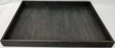 "Largest in S/3 Black Rectangular wood trays L: 18.25""x13""x1.50""H"