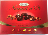 Golden Bonbon dark Belgian chocolate covered honey almond nougat 225 gr., 12/cs