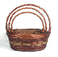 """Set of 3 Oval willow baskets with seagrass trim L:16""""x13""""x6""""Hx17""""OH, M: 14""""x11""""x5""""Hx14""""OH,  S: 12""""x9""""x4""""Hx12""""OH"""