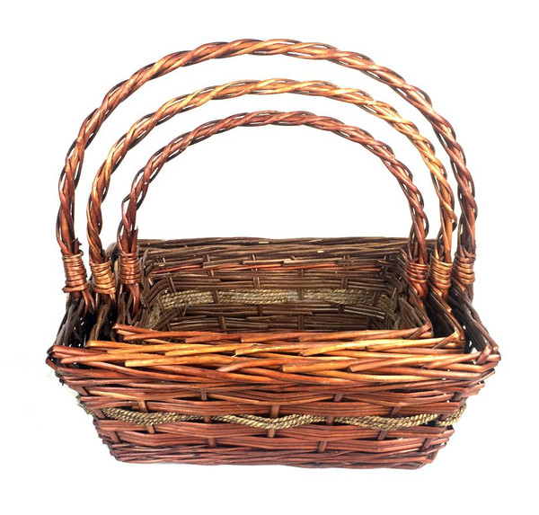 Set Of 3 Boat Shaped Willow Baskets With Handle Apex Elegance