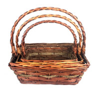 """Set of 3 Rectangular willow baskets with seagrass trim L:16""""x13""""x6""""Hx17""""OH, M: 14""""x11""""x5""""Hx14""""OH,  S: 12""""x9""""x4""""Hx12""""OH"""