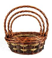 "Set of 3 Oval willow & seagrass baskets L: 16""x13""x6""Hx16""OH, M: 14""x10.5""x5""Hx14""OH, S: 12""x8""x4""Hx12""OH"