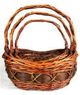 """Set of 3 Oval willow, chipwood & seagrass baskets L: 16""""x12""""x6""""H1x8""""H2x16""""OH, M: 14""""x10""""x5""""H1x7""""H2x14""""OH, S: 12""""x8""""x4""""H1x6""""H2x12""""OH"""