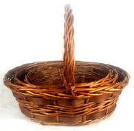"Set of 3 Oval willow & chipwood baskets (front to back handle) L: 17""x13""x6""Hx16""OH, M: 15""x17""x5""Hx15""OH,  S: 12.75""x8.5""x4""Hx14""OH"