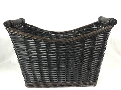 "Tall Willow basket with wooden handles 16.5""x7""x9""H1x12""H2"
