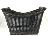 """Tall Willow basket with wooden handles 16.5""""x7""""x9""""H1x12""""H2"""