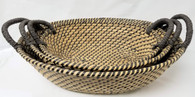 "Set of 3 Oval Seagrass & Straw baskets with handles L: 19""x14""x6""H, M: 16.5""x12""x5""H, S: 15""x10""x4.5""H"
