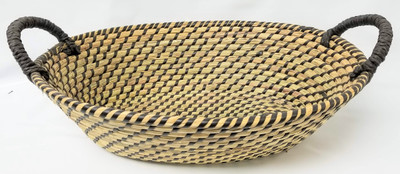 "Medium in S/3 Oval Seagrass & Straw baskets with handles 16.5""x12""x5""H"