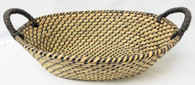 """Medium in S/3 Oval Seagrass & Straw baskets with handles 16.5""""x12""""x5""""H"""