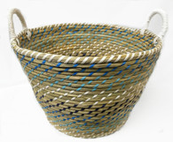 """X Large in Set of 4 Round blue-tones seagrass & straw baskets with handles  XL: 20""""Dx14""""H"""
