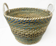 """Smallest in Set of 4 Round blue-tones seagrass & straw baskets with handles S: 12""""Dx10""""x9""""H"""