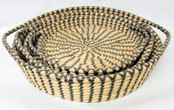 "Set of 3 Round Black & Natural Seagrass & Straw Trays   L:16""Dx3""H,  M:14""Dx2.5""H,  S:12""Dx2""H"