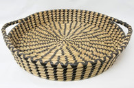 """Smallest in S/3 Round Black & Natural Seagrass & Straw Trays  (14"""" inc handles)"""