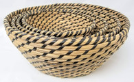"Set of 4 Round Black & Natural seagrass & straw baskets XL: 14""Dx6""H, L: 12""Dx5.2""H, M: 10""Dx4.4""H, S: 9""Dx3.6""H"