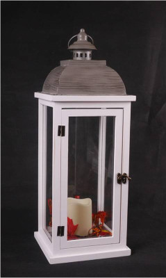 "White wood & cool grey metal glass lantern  8""x8""22""H"