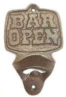 "Cast Iron ""Bar Open"" bottle opener 3.5""x5.25""H"