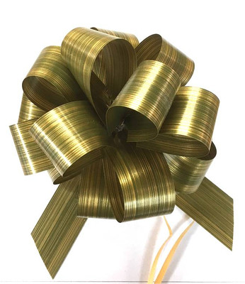 """5"""" Pull Bows - 50 bows/case - Striped Green"""