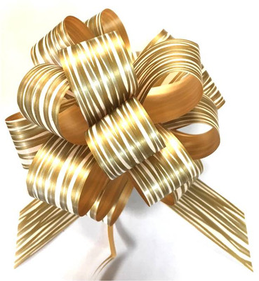 """5"""" Pull Bows - 50 bows/case - Striped Gold"""