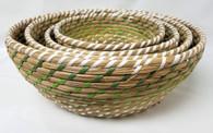 """Set of 4 Round Green & White seagrass & straw baskets XL: 14""""Dx6""""H, L: 12""""Dx5.2""""H,  M: 10""""Dx4.4""""H,  S: 9""""Dx3.6""""H"""