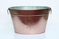 "Galvanized oval party tub in a metallic finish with metal handles 18""x12.5""x10""H"