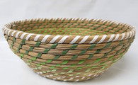 "Smallest in S/4 Round Green & White seagrass & straw baskets S: 9""Dx2.8""H"