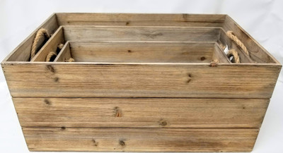 """S/3 Wood containers with rope handles  XL: 20""""x12""""x9""""H,   L: 18""""x10""""x8""""H,  S: 16""""x8""""x7""""H"""