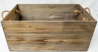 """XL in S/3 Wood containers with rope handles 20""""x12""""x9""""H"""