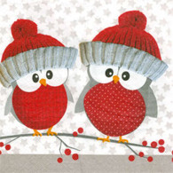 Lunch napkins - Red Holiday Owls
