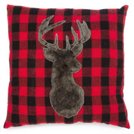 Red plaid cushion with faux fur deer
