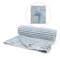 "Faux fur striped blue & white throw 50""x60"""