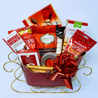 Christmas gourmet gift basket KIT includes 11 Items, plus Shredded paper, Cellophane bags and Pull bows Do it yourself Gift Basket! (Minimum 12)