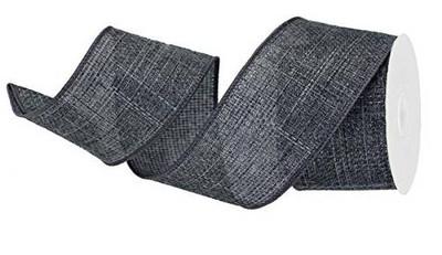 """Wired burlap ribbon Dark Grey 25 yard/roll - 2.5"""" wide"""