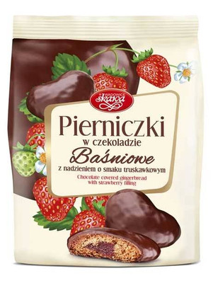 Skawa chocolate covered gingerbread with strawberry filling 150 gr., 12/cs