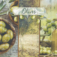 "Lunch Napkins - Green Olives 6.5""x6.5"""