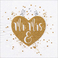 "Lunch Napkins - Mr & Mrs 6.5""x6.5"""
