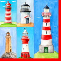 "Lunch Napkins - Lighthouse 6.5""x6.5"""
