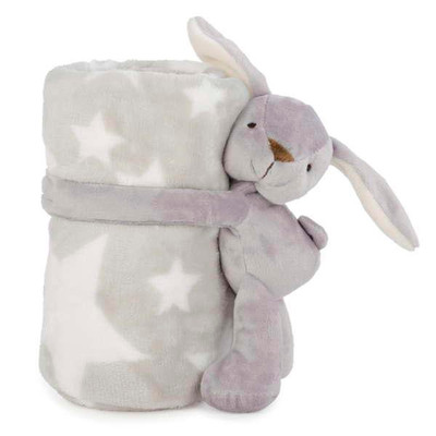 "Grey rabbit plush blanket set 30""X40""/8"""