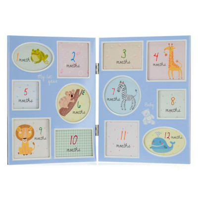 """Blue 12 month baby photo frame 12.5""""x8.5""""H"""