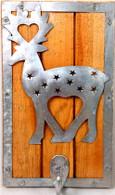 """Wood and metal hook - reindeer design 5""""x8"""""""