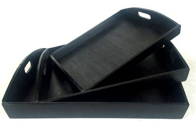 "Small Black wood tray 11""x9""x2""H"