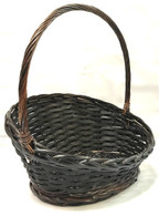 "Largest in S/2 Slanted willow & chipwood basket with handle L: 16""x11""x4""H1x9""H2x17""OH,"