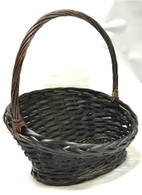 "Smallest in S/2 Slanted willow & chipwood basket with handle S: 13""x9""x3.6""H1x8""H2x15""OH"