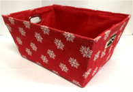 "Rectangular Red with white snowflakes basket with matching fabric liner 13""x10""x6""H"