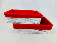 "Set of 2 white willow and chipwood baskets with red fabric liner L: 14""x9.2""x4""H, S: 12""x8""x3.5""H"