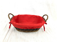 "Oval willow basket with handles and red fabric liner 12""x9""x4""H"